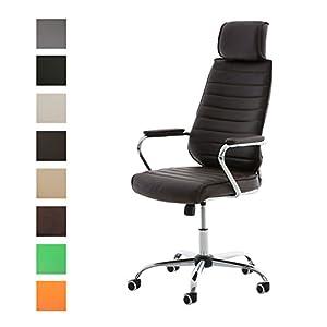 41ITB 2B1ZL. SS300  - CLP-Silla-de-escritorio-RAKO-con-acolchado-grueso-y-de-calidad-Con-tapizado-de-cuero-sinttico-La-altura-del-asiento-es-regulable-46-57-cm-Tiene-reposabrazos-apoyacabezas-y-funcin-de-balanceo-marrn