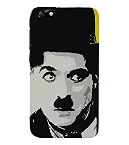 For Huawei Honor 4X :: Huawei Glory Play 4X man, man with hat, yellow grey background Designer Printed High Quality Smooth Matte Protective Mobile Case Back Pouch Cover by APEX