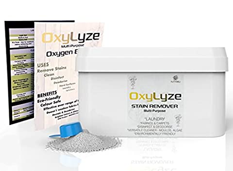 OXYGEN BLEACH - SODIUM PERCARBONATE Stain Remover - 3 KILOS - OxyLyze - DECKING CLEANER - Multiple Use Instructions - DECK PATIO CLEANER , MOULD and ALGAE REMOVER LAUNDRY and GENERAL CLEANER - 3