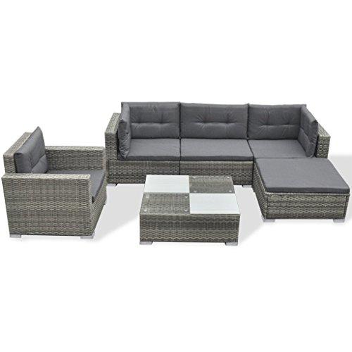 Festnight 17-TLG. Gartensofa Set Garten Lounge-Set Gartenlounge aus Polyrattan Loungegruppe...