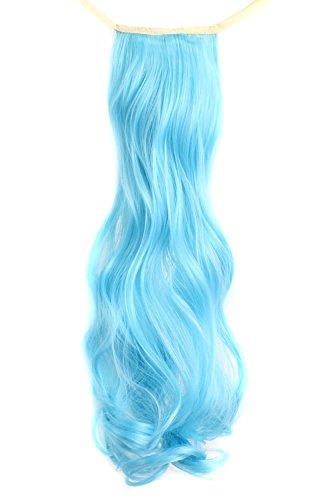 MapofBeauty 50cm/20 Pouce Longue Droit Queue de cheval Femmes Queue de cheval (Azur Bleu)