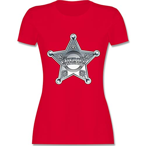 Karneval & Fasching - Cowboy Sheriff Karneval Kostüm - XXL - Rot - L191 - Damen Tshirt und Frauen - Sheriff Kostüm Frauen