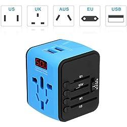 Adaptador Enchufe inglés Viaje con LED patalla Adaptador Internacional Universal Más de 150 países en todo el mundo para US / EU / UK / AUS / EE.UU./ Reino Unido / Asia / África ect, Dos Puertos USB para ipad, ipad, teléfono, MP3, GPS ,Azul