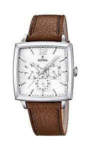 Festina - F16784-1 - Montre Homme - Quartz Analogique - Cadran Blanc - Bracelet Cuir Marron