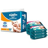 Supples Baby Pants Diapers, Medium, 72 Count with Wet Wipes (Pack of 6)