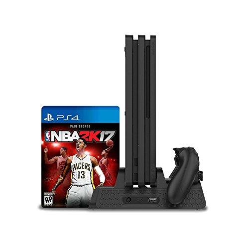 KONKY Playstation 4 Multifunctional Standfuß, Vertical Stand für PS4 / PS4 Pro / PS4 Slim Konsole & Eingebautem Lüfter Cooling Fan & PS4 Controller Ladestation Ladegerät & Spielscheibe Aufbewahrungsbox