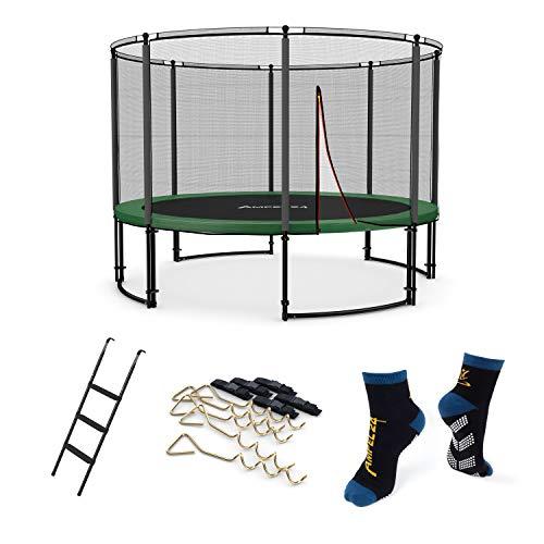 Ampel 24 Deluxe Outdoor Trampolin 366 cm grün mit Netz und Sicherheitsring | Belastbarkeit 160 kg | Gartentrampolin im Set mit Leiter, Windsicherung und 1 Paar Antirutsch-Socken extra