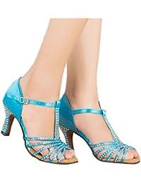 Monie Frauen Glitter Kristall Salsa-Ballsaal Tango Latin Tanzschuhe 3 Zoll Flare-Ferse Braun ElvM4r8f3I