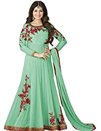 AnK New Look Women's Georgette Embroidered Long Semi-Stitched Salwar Suit