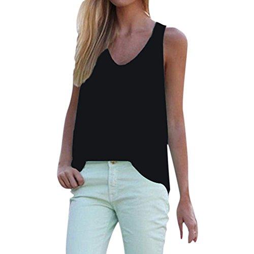 EFINNY Women Sleeveless Chiffon Tank Tops Cami Shirt V Neck Candy Color Vest Top Blouse (Blue Ribbed Tank Top)