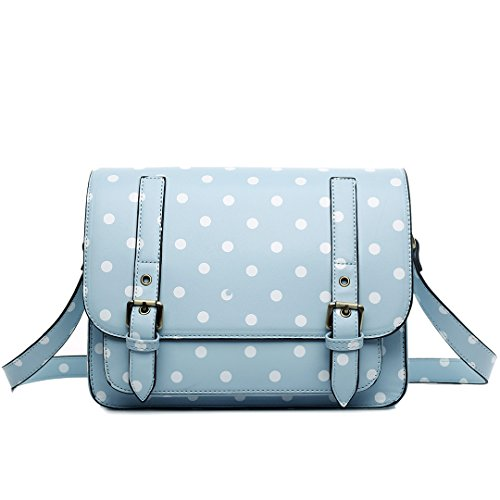 Miss Lulu , Damen Satchel-Tasche 1119D Light blue (Blue Light Leder-taschen)