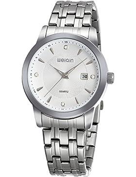 Herrenuhr Damenuhr Silber Edelsthal Armbanduhr Business Klassische Uhr Einfache Design Datum Kalender Analog Quarzuhr...