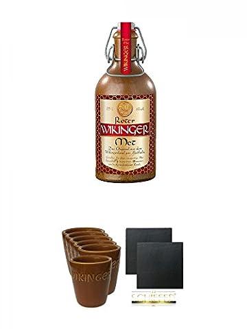 Original roter Wikinger Met im Tonkrug 0,5 Liter + Wikinger Met Tonbecher 6er Set + Schiefer Glasuntersetzer eckig ca. 9,5 cm Ø 2 Stück
