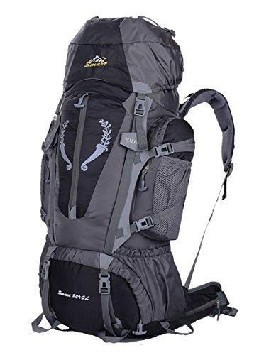 Zaino da trekking da 85 L, impermeabile, per sport, attività all'aperto, viaggi, arrampicata, escursioni, donna Bambino Uomo unisex, Yy-js-85l, Blue, 80*41*17cm nero - nero