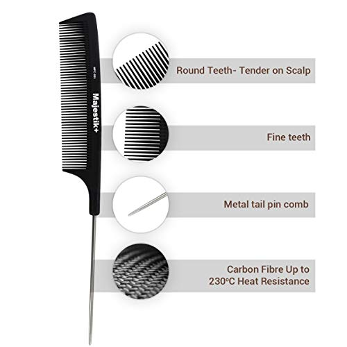 Haare kämmen, ein professionelles kohlefaser Schwanz Metall-Pin Kamm von Majestik +, Stärke und Haltbarkeit, feinen Zahn, Schwarz (MPC-005), mit freiem Bespoke PVC Geräteetui - Professionelle Stärke Zahn