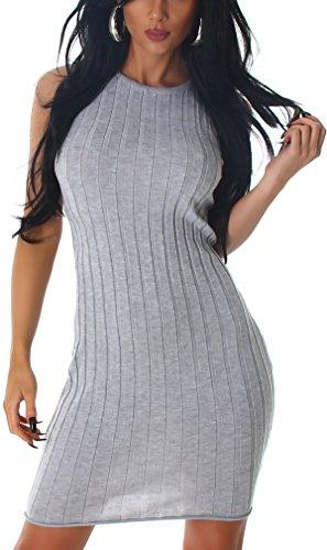 Jela London Strickleid Slim-Fit Etui Stretchkleid Midi Grobripp Streifen, Grau