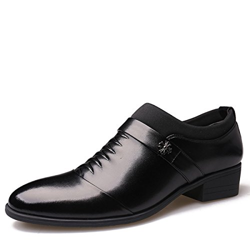 GRRONG Herren Lederschuhe Business Leisure Schwarz Braun Black