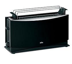 Braun Multiquick 5 HT 550 Langschlitztoaster (1000 Watt, geeignet für 2 Toasts) schwarz [Energieklasse A]