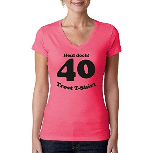 Fun Sprüche Girlie V-Neck Shirt - 40 Jahre - Heul Doch! Geburtstagsshirt by Im-Shirt Light-Pink