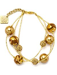 Rebollo, Parthenopeans Craftsman's - Isa bracelet in Pearled Swarovski Crystal, Murano Glass Beads, Gold Color