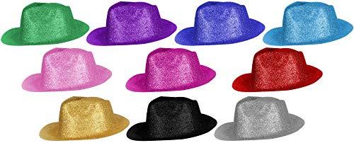 10er Set Coole Cowboy Hüte Sheriff Fasching Masken Perücke Disco Zylinder Maske Texas Glitzer Einfach Schwarz Silber Gold Rot Grün Blau Türkis Pink Lila Rosa