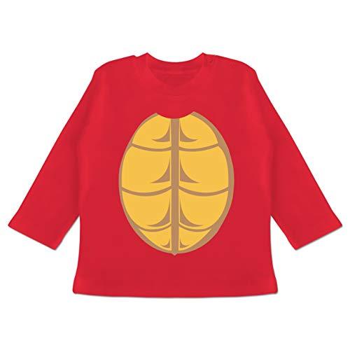 Karneval und Fasching Baby - Kostüm Schildkröte - 6-12 Monate - Rot - BZ11 - Baby T-Shirt Langarm