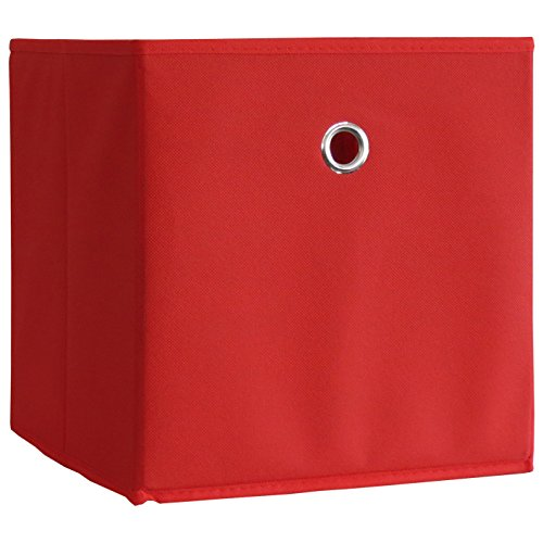 VCM 10er Set Faltbox Klappbox Sammelbox Stoffbox Regalbox Regalkorb ohne Deckel Rot 28 x 27 x 27 cm