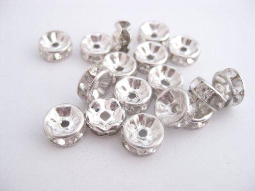 Perline rotondo vetro cristallo e strass/strass e pietra, placcato argento trasparente 22pezzi Diametro 8mm RH001