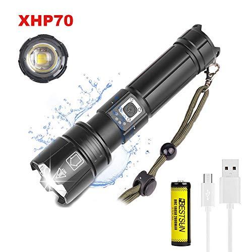 Starke LED Taschenlampe XHP70 Extrem Hell Aufladbar Taktische Taschenlampe, LUXNOVAQ Zoombare 8000 Lumen USB Outdoor Taschenlampe Wasserdichte Tragbare Power Handlampe mit Akku und 5 Modi für Camping