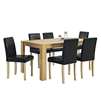 Dining Table and 6 Chairs with Faux Leather Oak Furniture Room Set