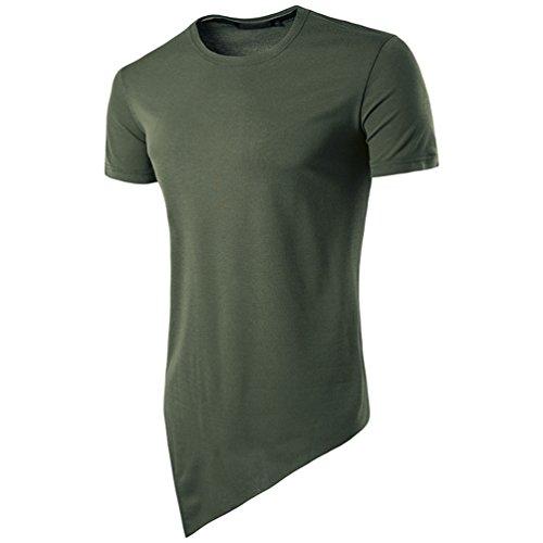 CHENGYANG Herren Ebene Unregelmäßige Saum Design Kurzarm Shirt Stylische T-shirt Grün