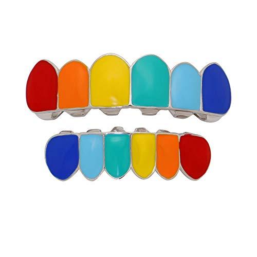 (Turkey Truthahn-Set, Regenbogenfarben, Hip Hop Zähne, abnehmbares Ober- und Unterteil, Dentalgrill, Mundzahngrill, Gold/Silber)