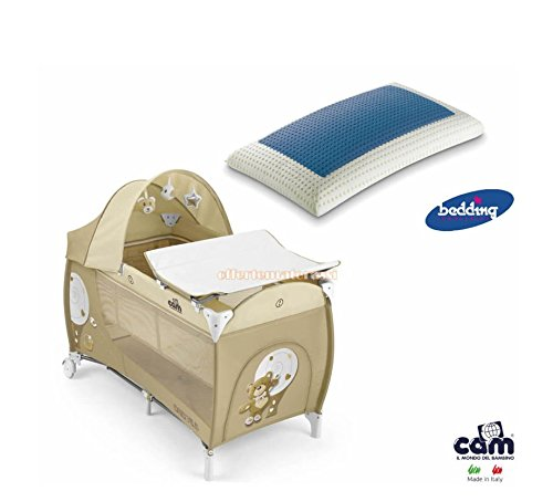 Lettino CAM Daily Plus Orso beige infanzia baby + Bedding Blue Classic