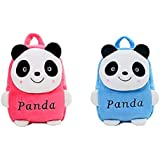 Swati Toy Kids Soft School Bag Plush Backpack Cartoon Toy | Children's Gifts, Combo Pack (Pink-Blue) Panda ( 2 To 6 Age ) Soft Material Fabric Soft Zip For Nursery/Play School Boy/Girl 10 L