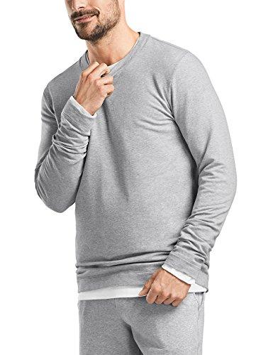 Hanro Herren Living Leisure Sweatshirt, Grau (Grey Melange 1036), 52 (Herstellergröße: L) -