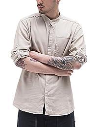 Aieoe Camisa Hombres Jovenes Cuello Mao Manga Larga Tops Casual con Botones  Algodón Lino Delgado Transpirable 46859fd985bf2