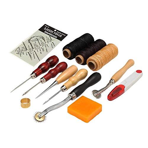 LoveOlvido 13 STÜCKE Lederhandwerk Werkzeugset für DIY Handlederarbeiten Carving Arbeiten Nähen Nähen Sattel Punsch Lederhandwerk Zubehör - Multi-Farben -