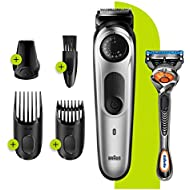 Braun Beard Trimmer BT5260 and Hair Clipper for Men, Lifetime Sharp Blades, 39 Length Settings, Black/Silver Metal, UK Two Pin Plug