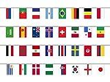 CoolChange international Fahnenkette mit 32 Länder Flaggen Girlande, 12m Länge, Flaggengröße 27,5x20cm, mit ausgewiesener Deutschen Mwst.