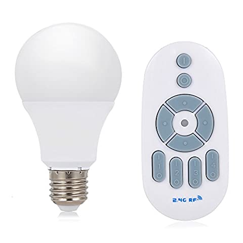 NEWBEN Wireless Lighting Starter Kit - 60 Watt Equivalent E27 7W Dimmable LED Bulbs with 2.4G Wireless Remote Control