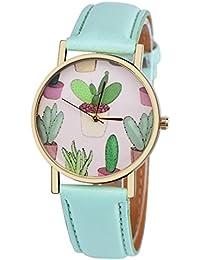 Vovotrade vogue cactus Cuero banda analógico cuarzo reloj de pulsera ...
