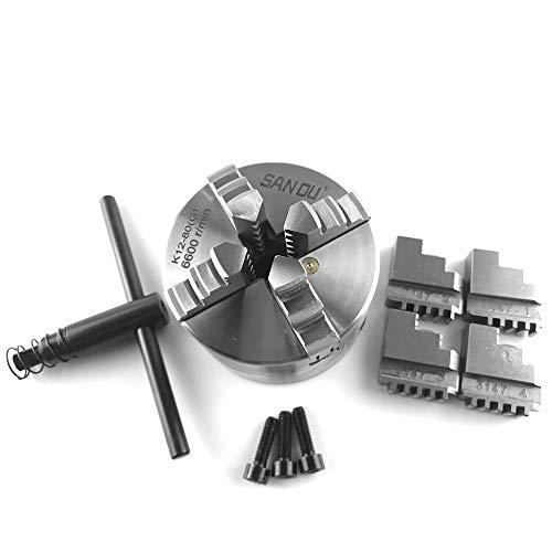 Fesjoy Vierbackenfutter für Drehbank, 4-Backen Drechselfutter mit Schraubeinsatz für mechanische Drehmaschine zum Bohren Fräsmaschine DIY Mini gehärtete Stahlteile K12-80
