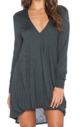 Damen Mode Shirtkleider Reizvolle V Schnitt Hemdkleid Longsleeve Ballkleid Asymmetrisch Vokuhila...