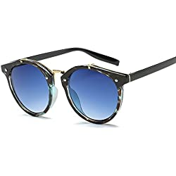 BVAGSS Gafas De Sol Moda Vintage Para Mujer Y Hombre UV400 Sunglasses (Green frame with gradient blue lens)