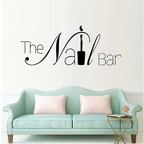 -Logo-Wand-Fenster-Aufkleber-Maniküre-Entwurfs-Wand-Abziehbild Entfernbare Nagel-Kunst-Wand-Plakat-Schönheits-Salon-Fenster-Dekor 57 * 22Cm ()