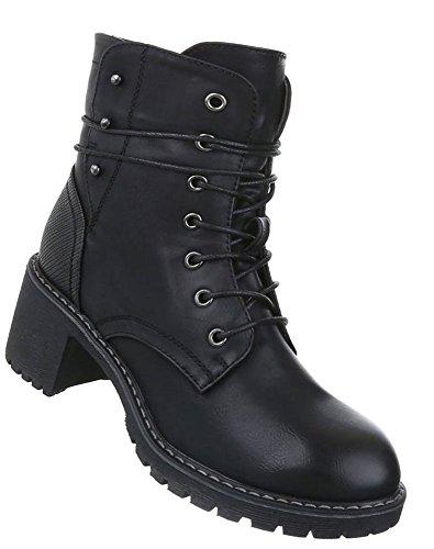 Damen Stiefelette Leder-Optik | Schnürstiefel Boots | Kurzschaft Stiefelette | Knöchelhohe Stiefel | robuste Outddor Stiefeletten | Absatz...