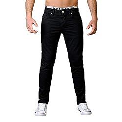 Gelverie Jeans Herren Slim Fit Jeanshose Stretch Designer Hose Denim I Black Denim, W36 / L34