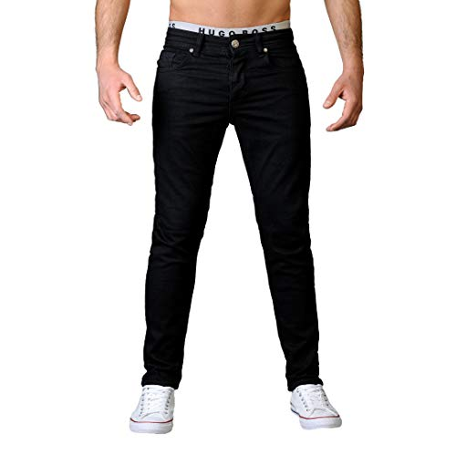 Gelverie Herren Hose Jeans for Man I Jeanshose Slim Fit I Für Männer I Leichter Stretch I Black Denim, W36 / L32