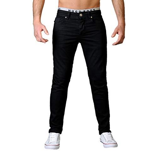Gelverie Herren Hose I Slim Fit I Stretch Jeans-Hosen Männer I (W29 / L30, Black Denim)