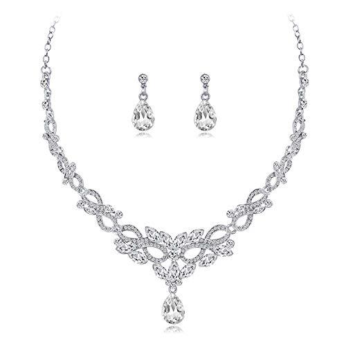 KaLaiXing, set di gioielli da sposa con perle e diamanti. XL11 - Set di collana e orecchini a goccia, con cristalli e orecchini